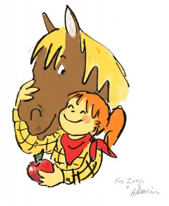 original art from the last page of Horse in the House, signed to Zoey from Betsy Lewin for her third birthday