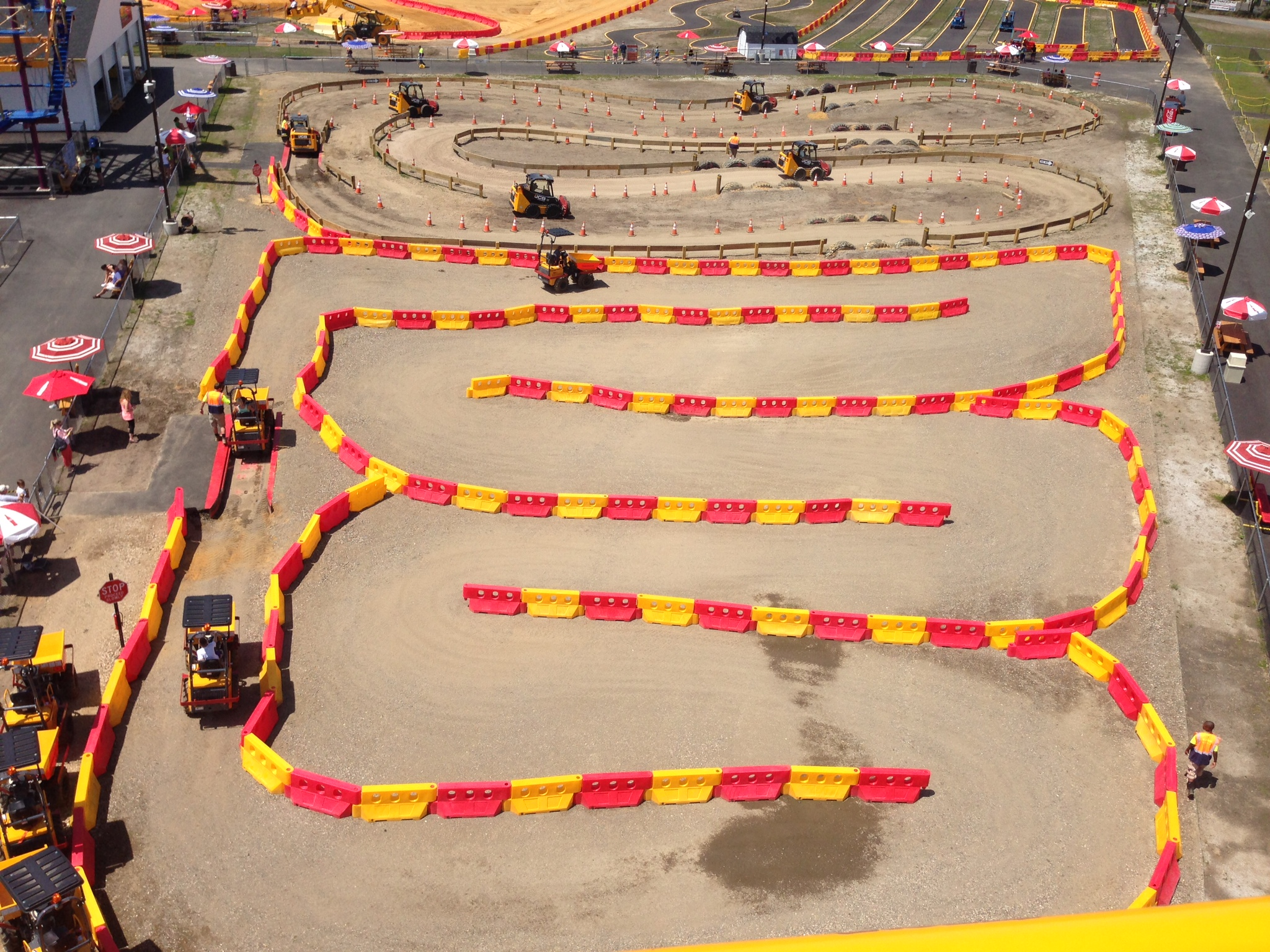 Aerial shot of the dumper truck and skid-steer courses
